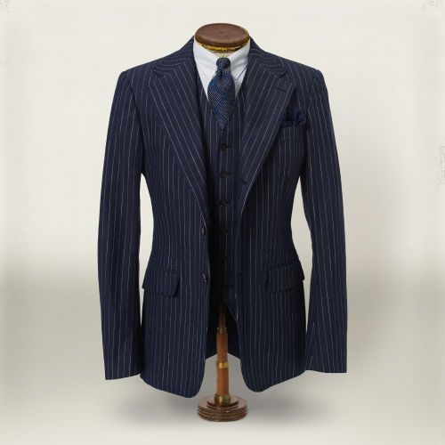 $1,090, Rrl 3 Button Ticking Stripe Blazer. Sold by Ralph Lauren. Click for more info: https://lookastic.com/men/shop_items/45869/redirect