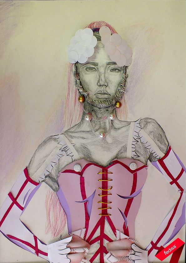 Monotone detailed torso illustration of the face, hair and hands of a model, with colour 3D clothing and accessories {2nd year}
