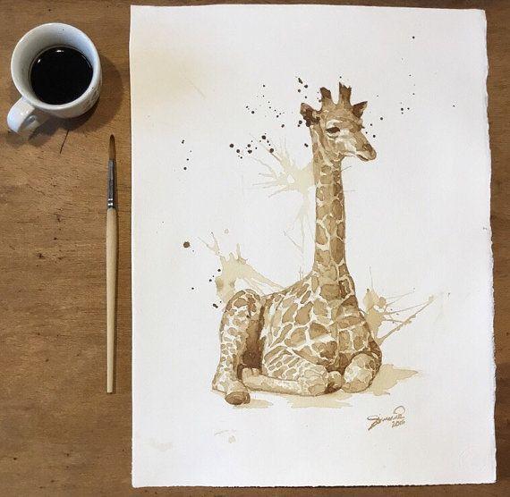 Giraffa di caffè STAMPA animali  arte per bambini  di OrmeDiCaffe