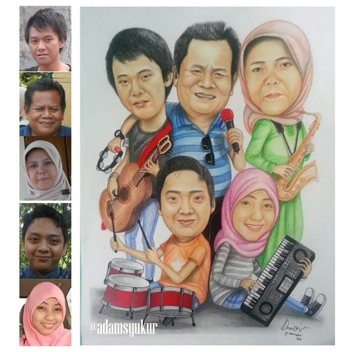 Happy family caricature
