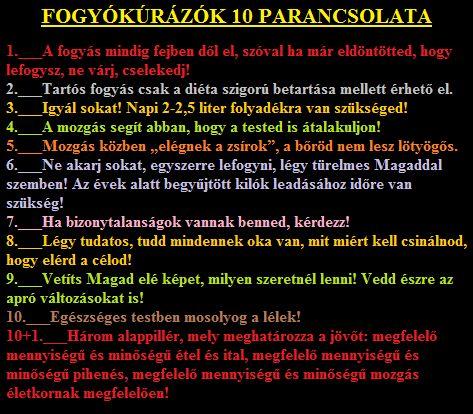 FOGYÓKÚRÁZÓK Tízparancsolata