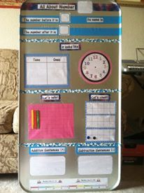 Floral/Tye Dye Math Activity Board...magnetic/dry erase, made from oil drip pan, duct tape, paper, magnets and tape