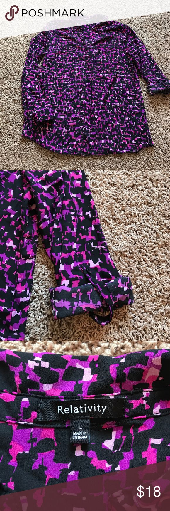 """Tunic blouse roll up sleeves pink purple black Tunic blouse from relativity with roll up sleeves! Cute in black, pale pink, dark pink and purple. 28"""" from shoulder to hem. Bust 22"""". Relativity Tops Tunics"""