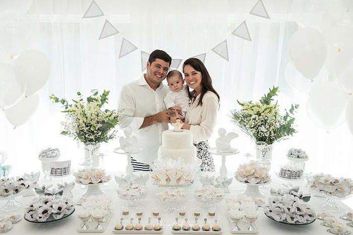 Dessert Table + Guest of Honor & Parents from an Elegant White Baptism Dessert Table via Kara's Party Ideas | KarasPartyIdeas.com (9)