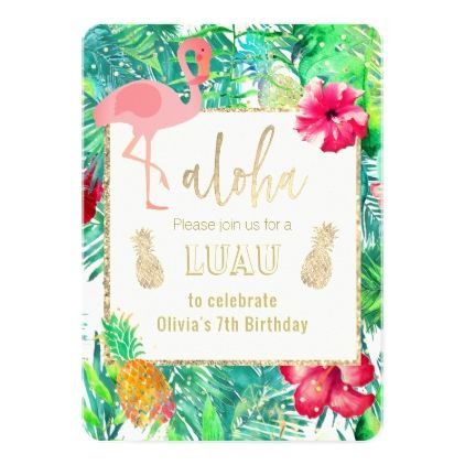 Flamingo Tropical Luau Party Card