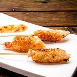 Shrimps, coconut and almond , brochetas de gamba con coco y almendra #glutenfree #glutenfri #glutenfreelife #singluten #celiac #healhty #sunn #norge #nrkmat  #foodphotography #foodies #food  #cocinaconpoco #glutenfreelife  #recipe #spanishrecipe #tapas
