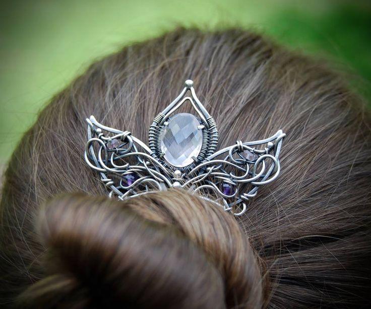 Ainu silver hair comb, wire wrapping, wire layering, one of a kind, unique jewelry, Iza Malczyk: https://www.facebook.com/IzaMalczykJewellery/