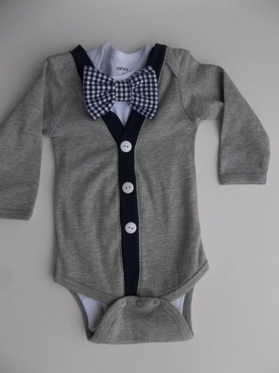 Items similar to Baby Boy Cardigan Onepiece Grey Gingham Bowtie 12 months on Etsy