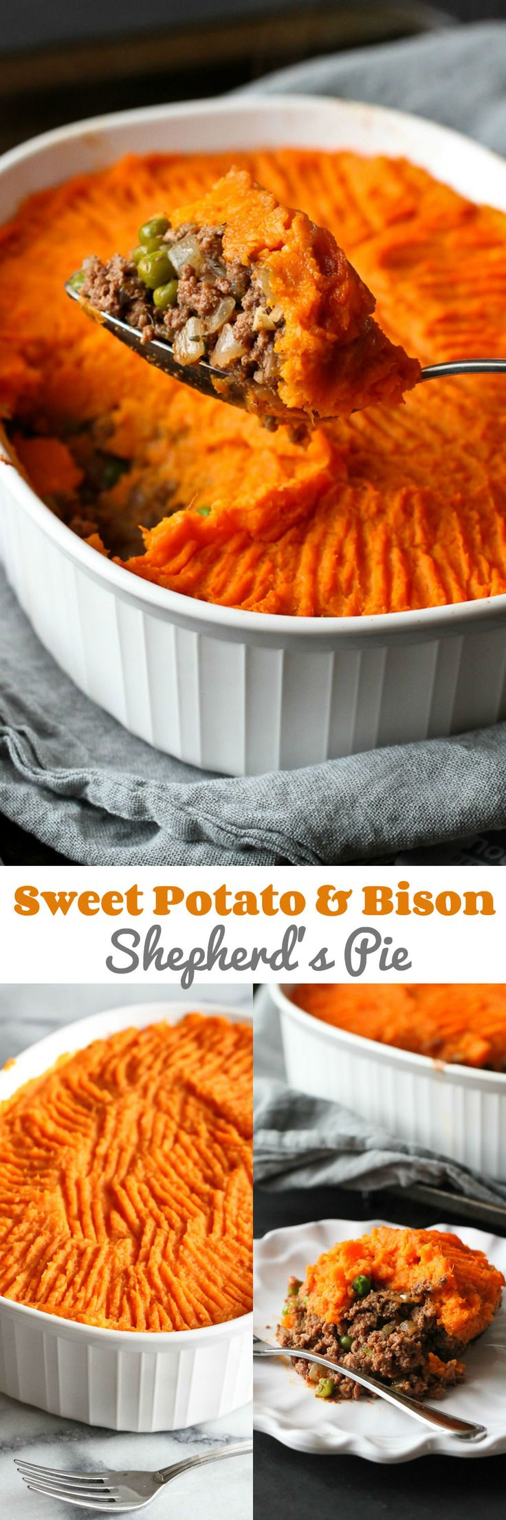 Sweet Potato & Bison Shepherd's Pie…A hearty, classic casserole recipe with a twist! 310 calories and 9 Weight Watcher SmartPoints