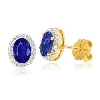 Earrings, stud earrings, sapphire and diamonds set earrings, online jewellery, gold, grahams jewellers