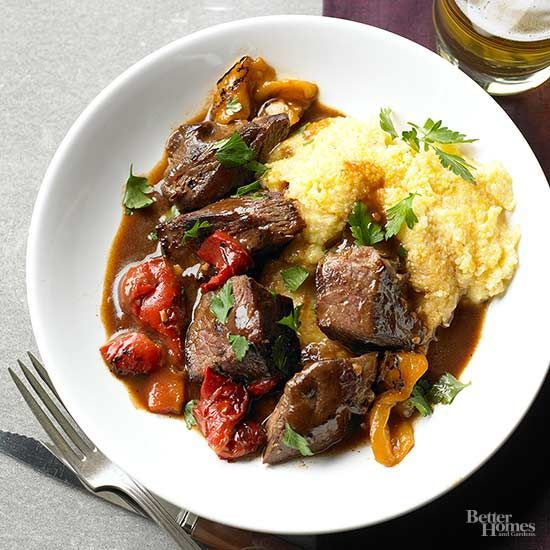 Beef seasoned with smoked paprika offers rich, savory flavors that are offset by roasted sweet peppers and fresh parsley./