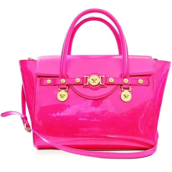 Pink | Pink Patent Clutch | Pink Hand Bags | Pink Fashion | Women's Fashion | Pink Styles | Pink Accessories | Pink Patent Leather Versace Tote