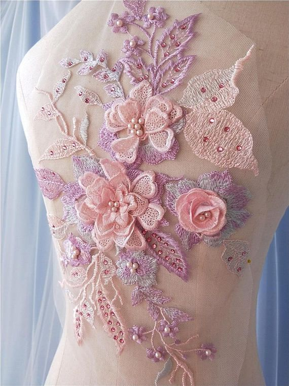 Rhinestone Lace Applique Wedding Dress Embellished Embroidery Floral Lace Patch