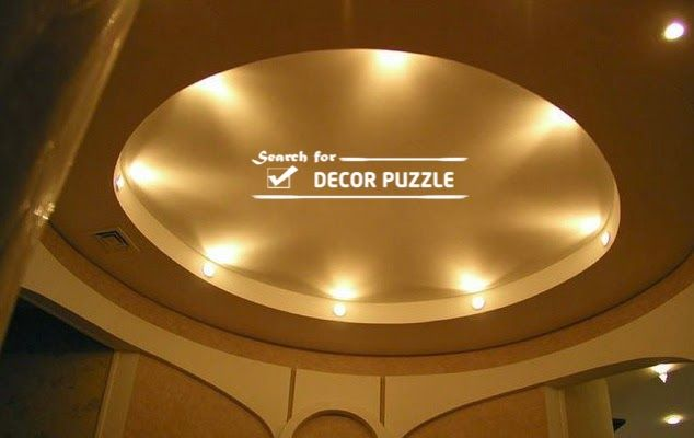 Round False Ceiling Designs Lights Gypsum Board Living