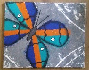 A colorful flight. 50 x 40 cm canvas. Grainy textured background using decorative sand.