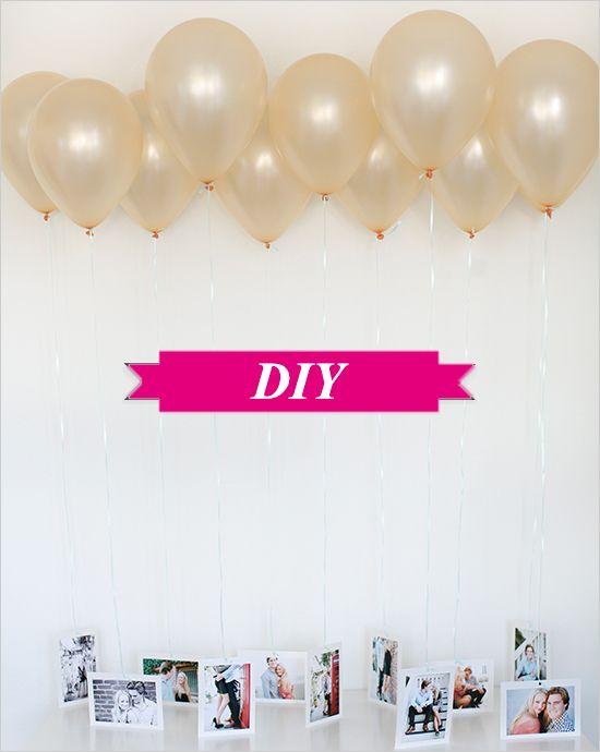 DIY: Decoratie met ballonnen en foto's! Benieuwd hoe je dit moet maken? Neem dan hier een kijkje: http://www.trouwplannen.nl/blog/2013/04/diy-decoratie-met-ballonnen-en-fotos/