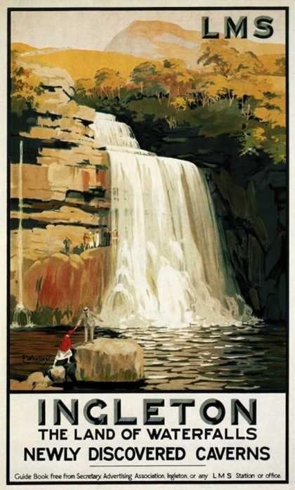 Ingleton, England – Spectators Climb on Waterfall Railway Poster