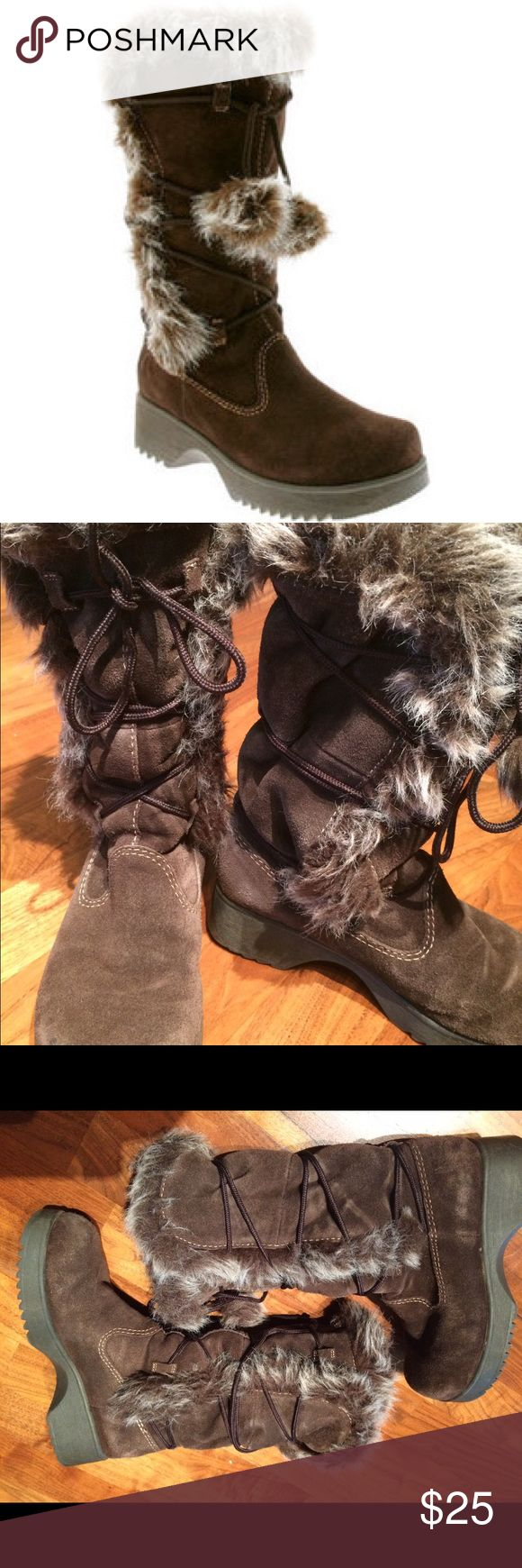 "Report Olympic suede fur snow boots 6.5 Great condition, barely worn twice on dry cement, these are warm and cute for the winter months. Faux fur and genuine leather, these will last you for the years to come.  Thick rubber soles keep you from slipping on wet ground, 3/4"" front and 1.5"" heel thickness. Mid-calf height. Runs a tad larger to accommodate thick socks. Report Shoes Winter & Rain Boots"
