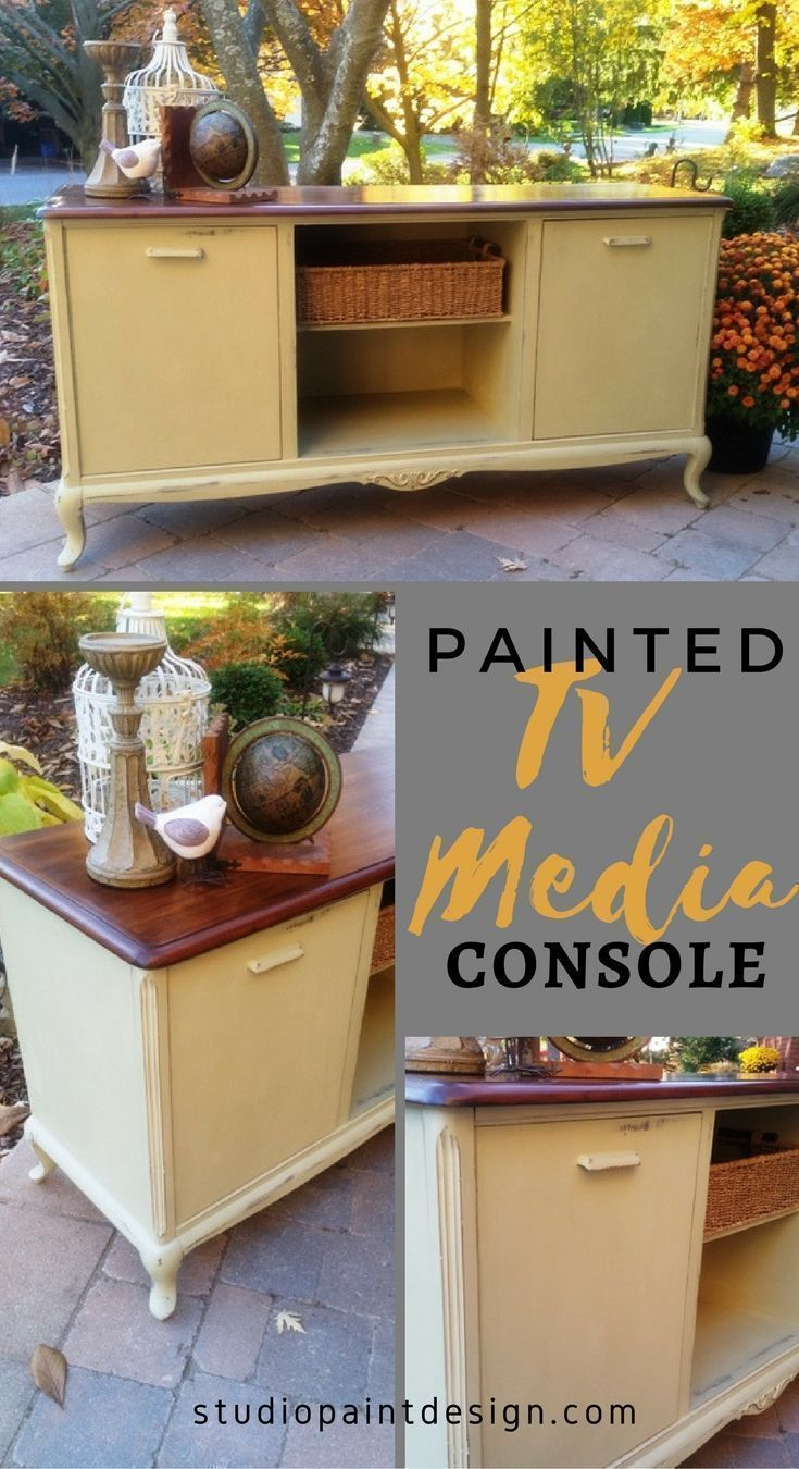 Painted TV Media Console, Painted Buffet, Distressed, Painted Furniture Painted and Refinished Buffet Sideboard or Media Console Annie Sloan Chalk Paint Coco and GF Java Gel Stain #paintedfurniture #paintedbuffet #paintedsideboard #DIY #furniturepaintidea