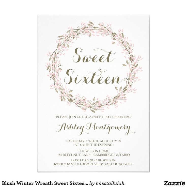 21 best PINK SWEET SIXTEEN Invitations images on Pinterest ...
