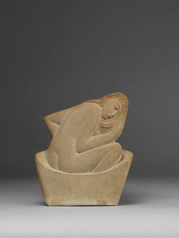 ERIC GILL - The Bath, 1920, stone with added colour, 8 in