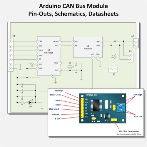 Arduino CAN Bus Module Pin Outs and Schematics | Arduino in 2019 | Arduino, Computer gadgets