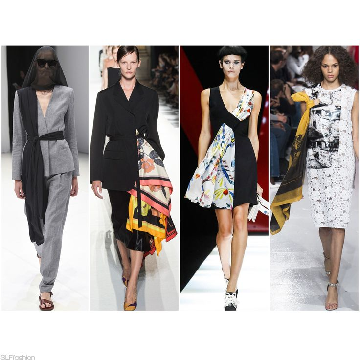 "Fashion Trend for SS18 ""The Scarf"": Added Scarf Touch.  In Four Fashion Weeks: Chalayan LFW, Dries Van Noten PFW, Giorgio Armani MFW, Calvin Klein NYFW Spring Summer 2018."