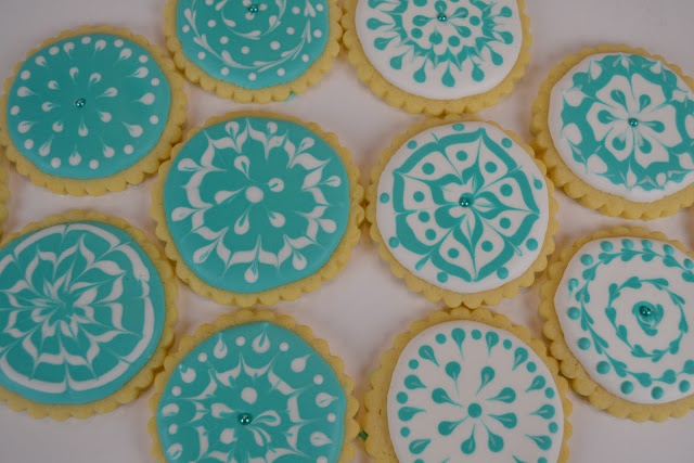 Teal and white sugar cookies