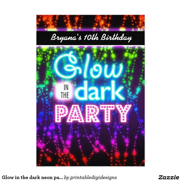 Glow in the dark neon party invitations Rainbow