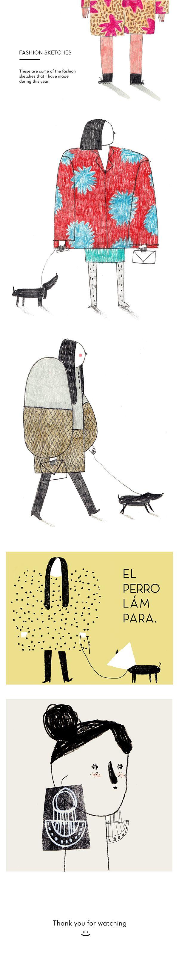 Fashion sketches by Teresa Bellon, via Behance