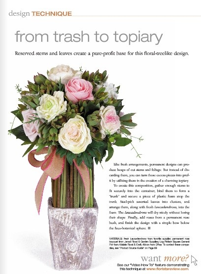 """Watch the video to see how Talmage repurposes clipped """"silk"""" flowers and leaves, which otherwise would have been trash, into a pretty topiary. Tune in here: http://www.floristsreview.com/FR-TV/How-To/Video0513.html"""