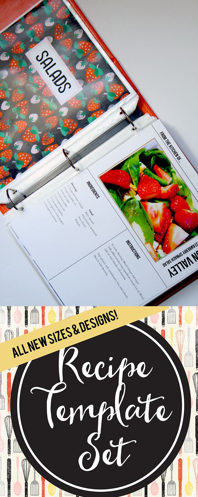 Easily DIY a beautiful recipe binder to give as a gift or keep for yourself! Easy to use PDF & PSD templates-- Fillable, and easy for you to print and use! Available in 3 sizes!