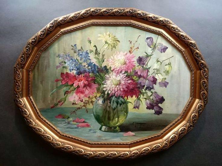 Obraz olejny RARYTAS UNIKAT Kwiaty ~ HEDWIG PETERMANN ur.1877r