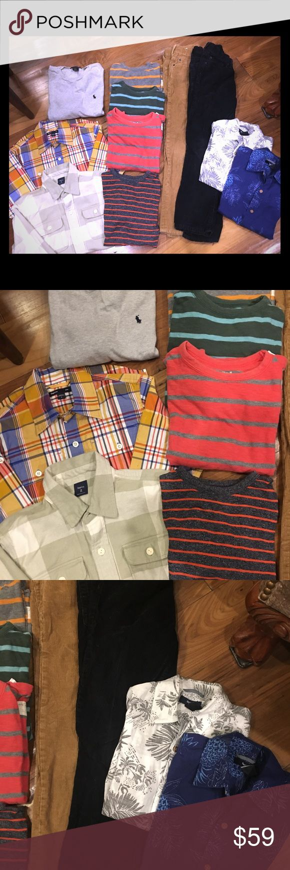 GAP Boys Clothes Lot AWESOME DEAL! Size 8 Boys almost all Gap Clothes.  Great condition! Get everything you need. All size 8.  Includes: black Gap 1969 Corduroys Tan Gap 1969 Corduroys 3 striped long sleeved cotton Gap shirts (green one has a tiny pinhole just above the wrist barely visible)  1 navy/orange Gap short sleeve shirt 1 gray Polo long sleeve shirt Long sleeve Gap button down  Long sleeve flannel Gap button down 2 short sleeved Gap Hawaiian print shirts GAP Other