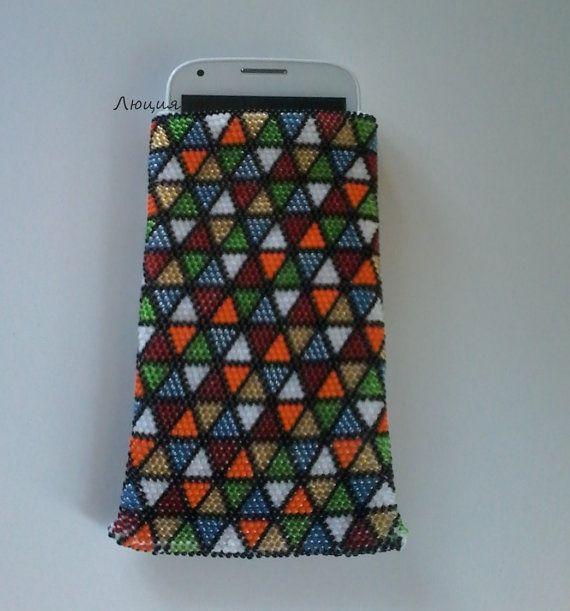 Чехол для телефона из бисера Кубик Рубика от Luciya1010 на Etsy