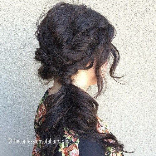 Brunette Messy Side Ponytail