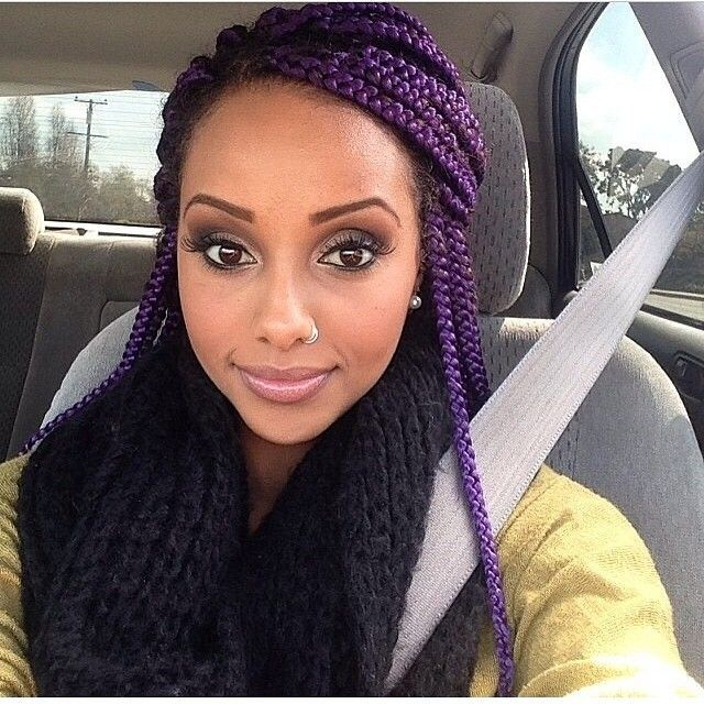 Twisted Purple Hairstyles for Black Teenage girls