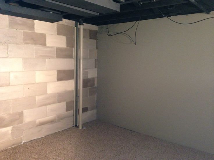 Painted cinder block our creations pinterest cinder for Block basement walls
