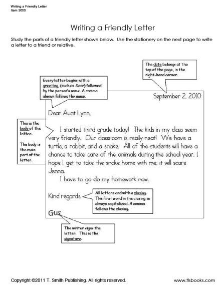 Parts Of A Business Letter Worksheet For Third Graders
