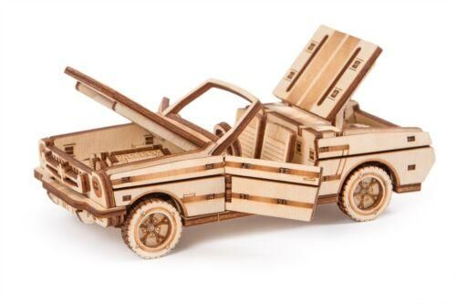 Wood Trick Cabriolet Car Model Mechanical Wooden 3D Puzzle Self Assembly Kit Set