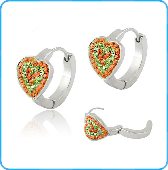 orange ferido crystal earring with heart shaped stainless steel earrings…