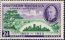 Southern Rhodesia Stamps 1953 Rhodes Centenary Set Fine Mint Diamond Jubilee of Matabeleland SG 71 5 Scott 74 8 Other British Commonwealth Stamps for sale here
