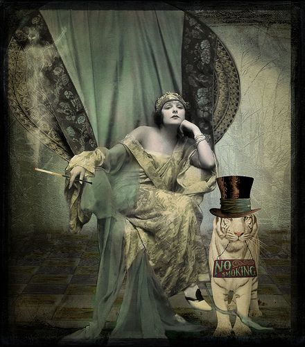 Thanks to: Background: Rubyblossom. www.flickr.com/photos/rubyblossom/.  Texture: SkeletalMess. www.flickr.com/photos/skeletalmess/.  Vintage Photograph: Hello_Tuesday @ DeviantArt. Smoke: Finecrafted Designs @ DeviantScrap. Tiger: Holliewood Studios You know that smoking kills you. Why do you keep doing that? At www.e-cigarilicious.com we will show you the way out. Visit www.e-cigarilicious.com