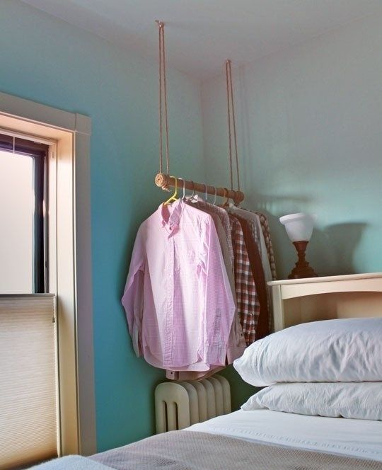 So much better than one of those janky free-standing garment racks. Get the directions here.