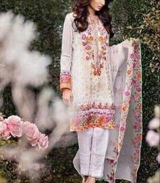 Buy WHITE embroidered georgette semi stitched salwar with dupatta pakistani-salwar-kameez online