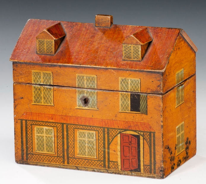 Georgian painted tea caddy in the form of a country house