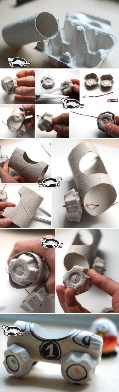 fabriquer une voiture avec boite oeuf