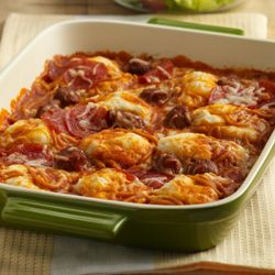 A unique spaghetti casserole -- Chef Boyardee Spaghetti and Meatballs layered with cheese on a biscuit base, topped with pepperoni and baked together for a flavorful 'pizza' style dish  http://www.readyseteat.com/recipes-Pepperoni-Spaghetti-Bake-5617.html