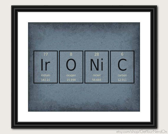 Periodic Table Word Poster  Ironic  Wall Art by GetYourNerdOn, $20.00