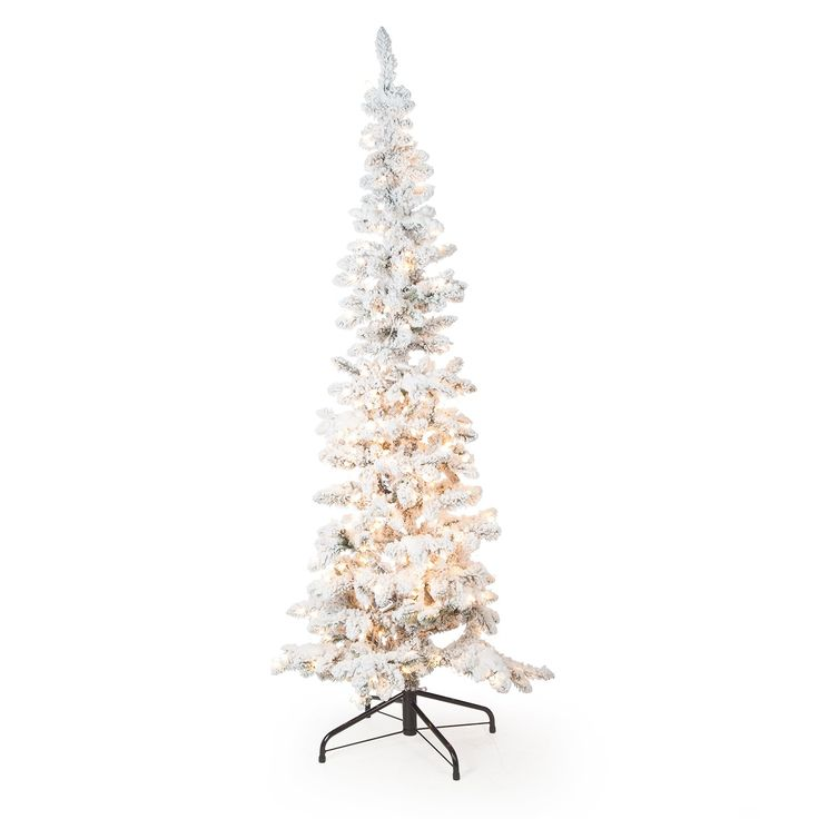 Narrow Flocked Austin Pine Pre Lit Slim Christmas Tree | From Hayneedle.com